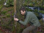 David setting up a camera to monitor the translocated pine martens